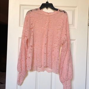New SHEIN pink lace blouse